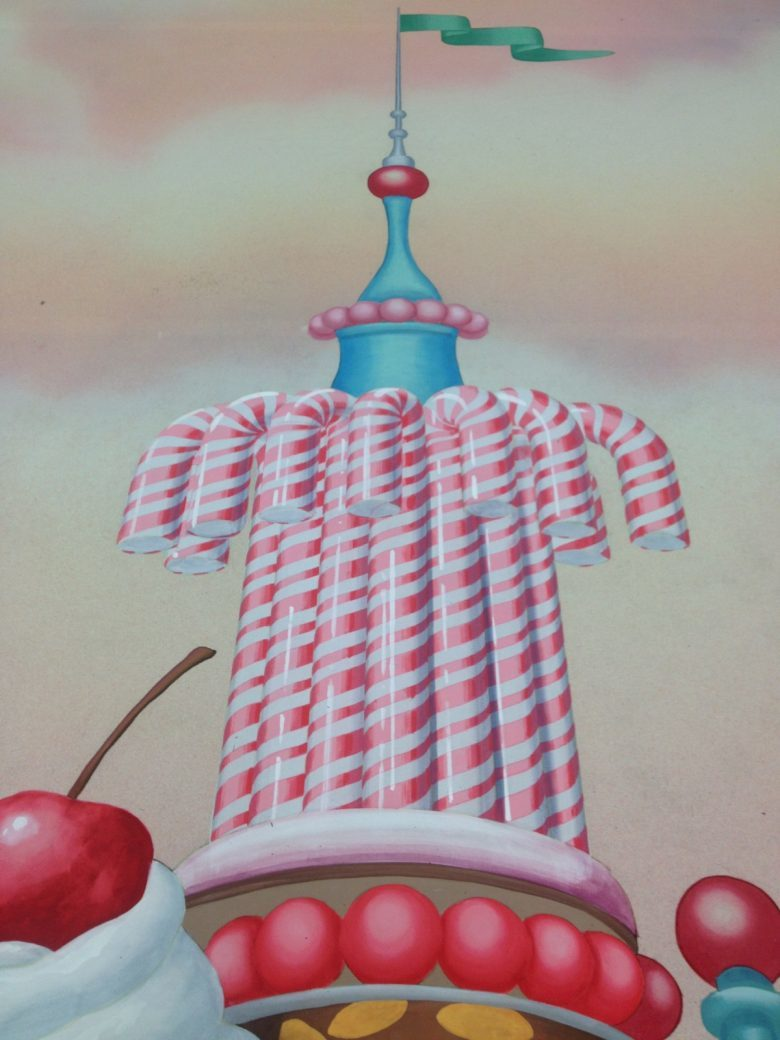 Detail of the Candy Skyline backdrop
