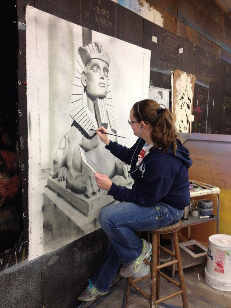 Amanda Gimbel paints on white velour
