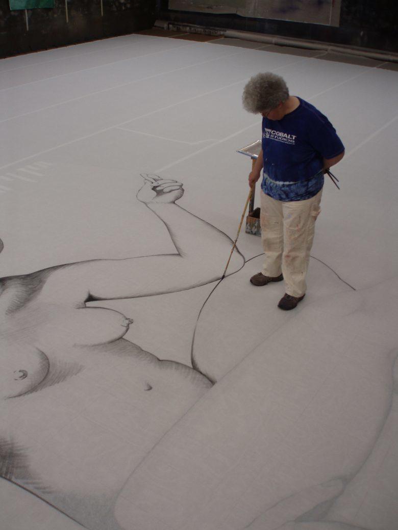 Rachel Keebler painting  the Lady Scrim