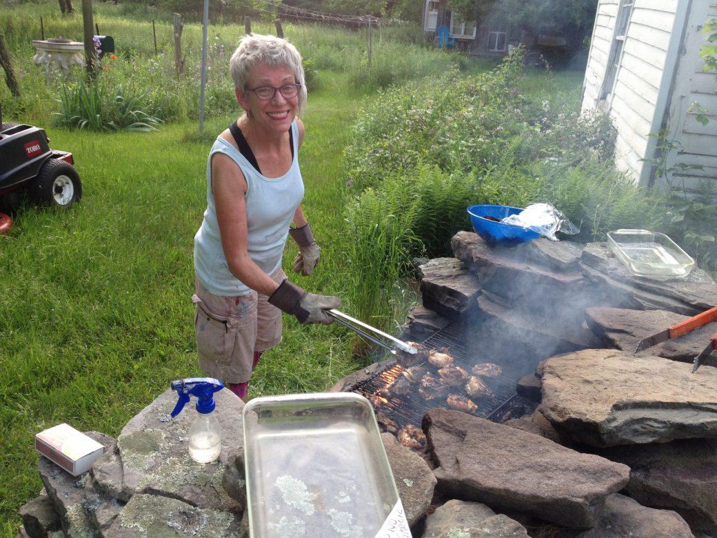 Kimb Williamson at the grill, dinnertime Summer Scene Painting